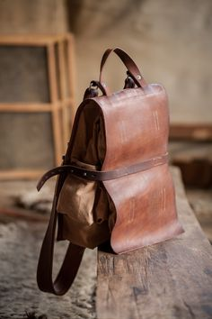 Custom leather and canvas messenger bag. Brown Backpacks, Leather Backpacks, Canvas Leather, Leather Bags, Canvas Messenger Bag, Custom Leather, Leather Design, Beautiful Bags, Leather Working
