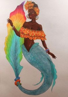 """ An African mermaid. I absolutely love other cultures, so I'm going to be doing a series of mermaids themed after various cultures from around the world. Eventually, I would like to make different mermaids for individual communities in. Siren Mermaid, Black Mermaid, Mermaid Art, Black Girl Art, Black Women Art, Art Girl, Fantasy Creatures, Mythical Creatures, Mythological Creatures"
