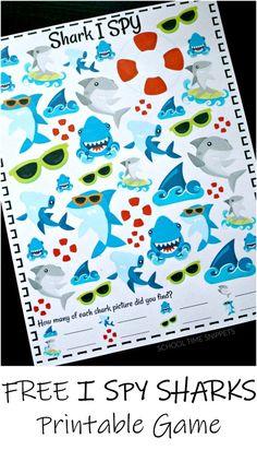Shark Week Crafts, Shark Craft, Shark Activities, Shark Games For Kids, Sharks For Kids, I Spy Games, Board Games, Dice Games, Shark Pictures