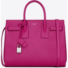 Saint Laurent Classic Small Sac De Jour Bag In Electric Pink Leather (10 200 PLN) ❤ liked on Polyvore featuring bags, handbags, shoulder bags, purses, bolsas, borse, electric pink, purple purse, pink leather handbag and purple leather handbag