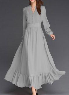 Chiffon Solid Long Sleeve Maxi Buttons Dresses (1015202) @ floryday.com
