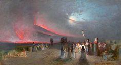"""Francesco """"Lord"""" Mancini (Napoli, 1830 - 1905) La pioggia di cenere durante l'eruzione del Vesuvio del 27 aprile 1872."""