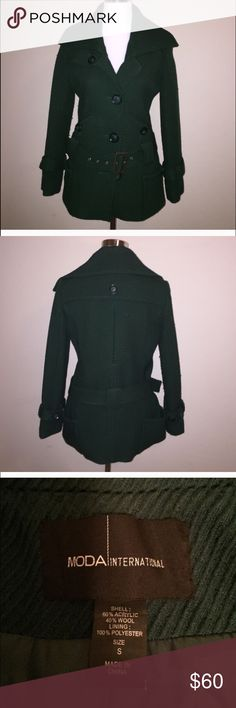 MODA international peacoat with waist belt dark green coat wig light wear. freshly dry cleaned. too small for me. would fit a size 2/4. no trades. bundle for discount. formal offers only. no model. no hold. Moda International Jackets & Coats Pea Coats