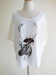 Dear Santa Christmas Holiday Reindeer Funny Animal Bat Sleeve Women T-Shirt Cream Short Sleeve T-Shirt Oversize Screen Print Free Size via Etsy