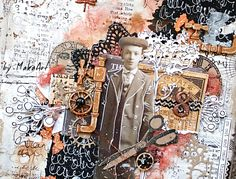 "My art journal page ""Nostalgic thoughts..."" Welcome to my blog! This time I would like to show you my latest mixed media art journal page and ATC set in vintage style...   I creat..."