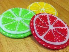 om mani padme hum: DIY Citrus Coasters for the Summer! Felt Coasters, Diy Coasters, Om Mani Padme Hum, Felt Diy, Diy Tutorial, Watermelon, Fruit, Cord, Summer