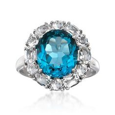 4.70 Carat London Blue Topaz and 1.50 ct. t.w. White Topaz Ring in Sterling Silver