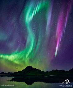 Aurora #2 - Aurora over a lake near Landmannalaugar during a minor geomagnetic…