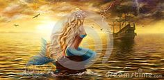 Beautiful Princess Sea Mermaid With Ghost Ship At Sunset Background Stock Illustration - Image: 69394317