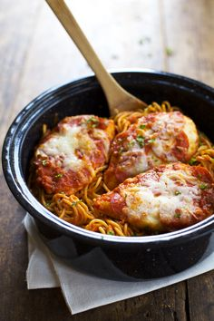 This 6-ingredient recipe for Chicken Pizzaiola is a family favorite! Spaghetti noodles with pepperoni and cheese covered chicken. Yum!