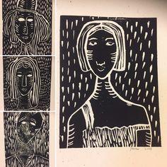 Linosnitt 7. Trinn. Etter Modiglianis malerier.