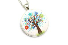 Floral pendant necklace Tree-Of-Life necklace pendant Tree-Of-Life jewelry Polymer clay necklace pendant Family tree necklace Gift for her