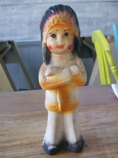 """Antique / Vintage Chalkware Indian Boy / Chief Carnival Prize 9"""" / 1930s / 1940s"""