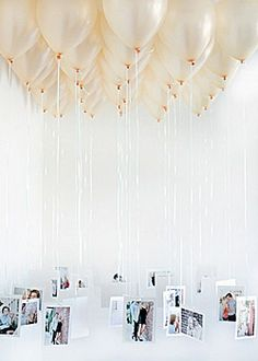 How to decorate the wedding reception - add photographs of family;  friends and the bride and groom to ivory balloons as an alternative table/ceeling decoration or wedding invitation
