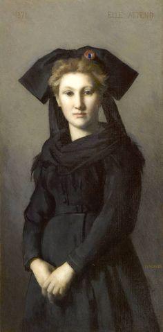 """L'Alsace. Elle attend. tableau de Henner. J'aime beaucoup cette figure féminine, sobre, digne, erratique. Composé dans un moment difficile suite à la guerre de 1870.""""La cocarde tricolore piquée sur le nœud noir alsacien donne toute sa signification patriotique à une peinture évitant la grandiloquence ou l'anecdote...""""(dixit page du site:http://www.musee-henner.fr/alsace_elle_attend."""