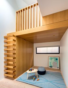 Glebe House by Nobbs Radford Architects Sydney, Australia. Wooden Staircase Design, Wooden Staircases, Stair Design, Small Apartments, Small Spaces, Interior Architecture, Interior Design, House Extensions, Bedroom Loft