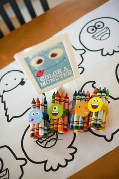 Monster party idea - coloring station