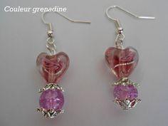 Boucles d'oreilles spécial fête des mères coeur verre de murano : Boucles d'oreille par couleur-grenadine33