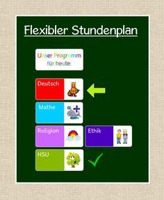 Wahrscheinlich gibt es den flexiblen Stundenplan mittlerweile in fast jedem Klassenzimmer ;-) In meinem Klassenzimmer hängt diese Variante....