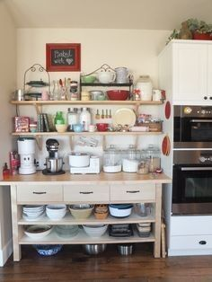 We created a separate BAKE CENTER to have two separate work triangles. I can be cooking dinner while my hubby makes cookies and we never bump into each other.except for an occasional meeting at the fridge! Baking Storage, Kitchen Storage, Kitchen Decor, Kitchen Design, Kitchen Ideas, Baking Center, Baking Station, Bakers Kitchen, Home Bakery