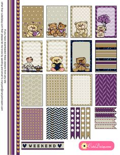 Teddy Bears Stickers for Happy Planner and Erin Condren Life Planner