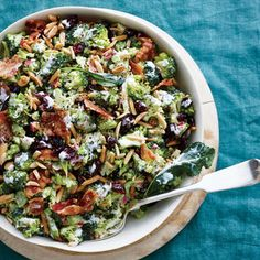 Broccoli salad is usually drowning in a creamy, often very sweet, dressing and studded with 1/2 pound crumbled bacon, making it more about the creamy dressing and bacon than about the actual broccoli. Ours uses a combination of canola mayonnaise and Greek yogurt to keep the calories in check. We opt for center-cut bacon (a bit less of it) and swap the usual raisins for lower-sugar dried cranberries to pack a subtle punch of tart. The best part of this salad? The longer it sits, the better…