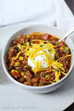 There's nothing better than a hearty bowl of Southwest Chili with Black Beans and Corn on a cold winter day, or on game day!