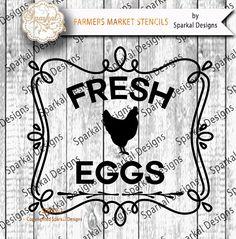 Fresh EGGS Cutting design Farmers Market Organic Vintage Vinyl Stencil SVG Cut File Cricut design Space, Silhouette Studio Easy Weed