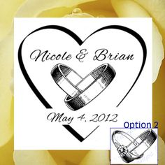 Wedding Rings and  Heart Custom rubber stamp  by BlossomStamps, $25.95
