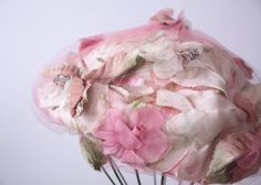 Vintage 1940's - 1950's Flower Hat / Retro Easter Bonnet / Pink Fascinator / Velvet Flowers / Spring. $40.00, via Etsy.