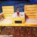 Double Chair Bench with Table Plans | MyOutdoorPlans | Free Woodworking Plans and Projects, DIY Shed, Wooden Playhouse, Pergola, Bbq