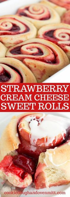 Strawberry Sweet Rolls - The perfect sweet rolls to serve up this spring. The dough has a strawberry cheesecake creamer incorporated into it to give the dough a sweet strawberry flavor. There's a layer of cream cheese and strawberry pie filling spread on top of the dough. It's rolled up in a perfect little package, sliced and baked! Add a glaze for a little extra sweetness!