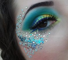 Blue and green mermaid style eye makeup