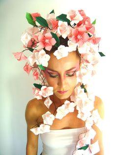Cherry Blossom art Designed by: Sanja Srbljinovic Cucek Folded by: Vlatka Fric Make up: Vlatka Fric Model: Vlatka Fric Photo: Vedran Vidakovic  #origami #art #design #cherry #blossom #paper
