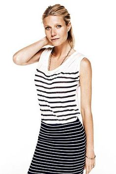 Nice stripe combo Gwyneth Palrow is wearing....more important, though, is how she's managed to defy aging.