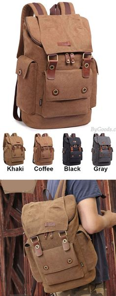 Which color do you like? Retro Men's Canvas Large Capacity Outdoor Travel Rucksack Splicing Leather Belts School Laptop Backpack #backpack #school #laptop #leather #belt #travel #outdoor #cute #backpack #bag