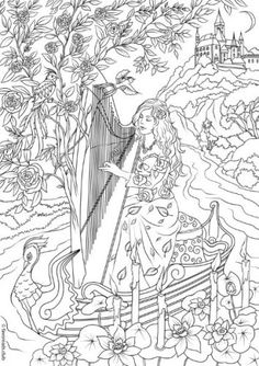 Fantasia – Harp-Player coloring page | FavoReads