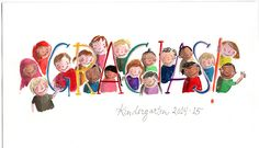 This is an illustration of my sons kindergarten class. I made it in to a card. Klayarsenault.com #kindergarten #illustration #teachergift