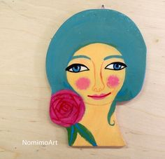 Illustrated woman portrait  wooden wall decor  by NomimoArt