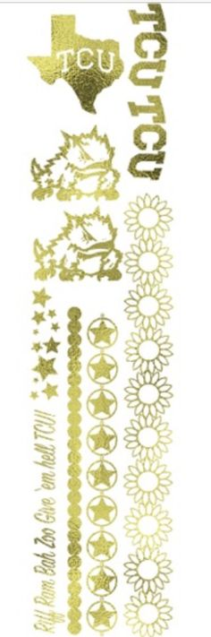TCU FLASH TATTOOS http://www.myelectricink.com/products/horned-frog-inspired-gold-metallic-temporary-tattoos-myelectricink