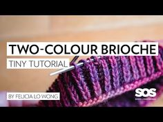 How to Knit Two-Colour Brioche in the Round // School of SweetGeorgia // Tiny Tutorial - Knitting for beginners,Knitting patterns,Knitting projects,Knitting cowl,Knitting blanket Knitting Videos, Knitting Stitches, Knitting Yarn, Knitting Projects, Chunky Yarn, Double Knitting, Couture, Lana, Knitted Hats