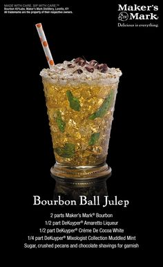 Bourbon Ball Mint Julep - Two odds-on Kentucky favorites run neck and neck in one cool cup. A sweet field of mint, amaretto and cocoa chase a delicious kick of Maker's Mark® Bourbon. #MakeItDelicious