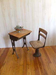 antique wooden school desk and chair via etsy i absolutely love