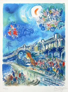 Chagall Lithographie Signé, Carnaval of Flowers from Nice and the Côte d\'Azur, 1967