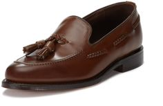 $355, Dark Brown Leather Tassel Loafers: Loake Temple Tassel Loafer. Sold by Gilt. Click for more info: https://lookastic.com/men/shop_items/92575/redirect