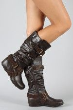 Bamboo Jester-34 Buckle Slouchy Knee High Boot