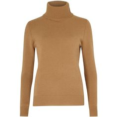 Chloé Womens Jumpers Chloé Camel Roll-neck Cashmere Jumper ($975) ❤ liked on Polyvore featuring tops, sweaters, brown tops, camel top, brown cashmere sweater, camel sweater and roll neck sweater