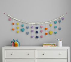 Star Garland, Felt Garland, Pom Pom Garland, Garland Ideas, Hanging Garland, Rainbow Bedroom, Rainbow Room Kids, Rainbow Theme, Wool Felt