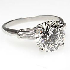 Vintage 2 Carat Diamond Engagement Ring w/ Baguette Accent Solid Platinum by EraGem