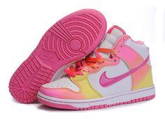 separation shoes fb146 c62ac Nike Dunk High Womens GS Sb Womens Rainbow White Pink Yellow New Jordans  Shoes, Air
